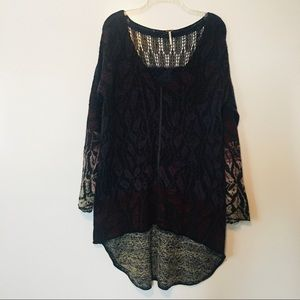 Free people knit long sleeve high low hem tunic